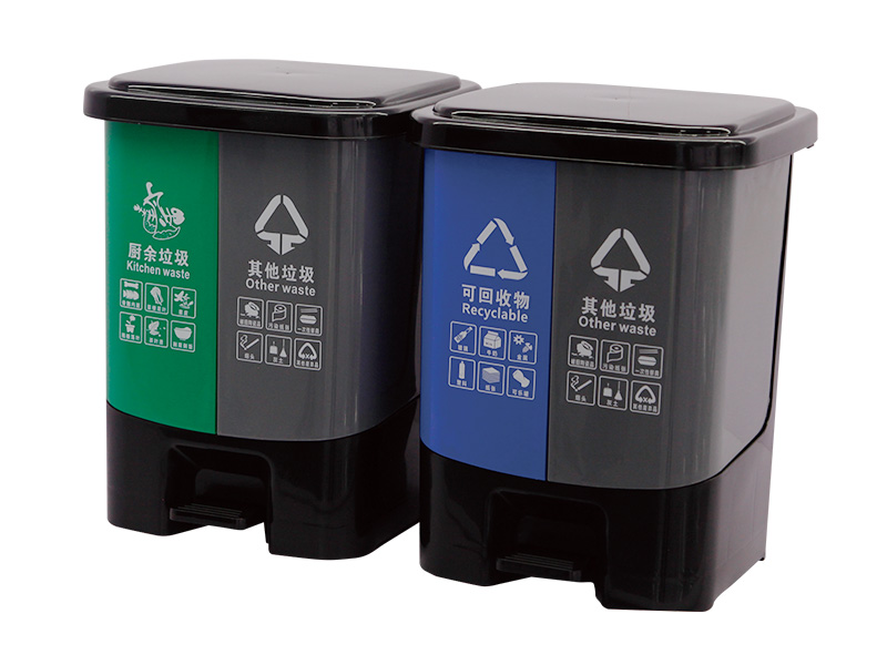 What are the color markings of the dustbin bins and the standards for dustbin classification?
